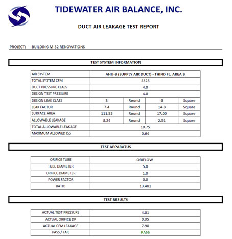 Duct Air Leakage Testing Tidewater Air Balance Inc